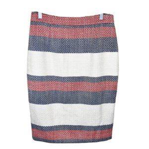 Halogen Red, Blue & White Striped Pencil Skirt - 8